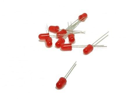 Dioda LED 5mm czerwona dyfuzyjna 20mA - 10 szt