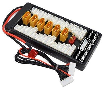 Adapter Ładowarka - HSM-142A B6 - 6x XT60 - równoległe ładowanie nawet 6 akumulatorów - złącze DEAN do ładowarki