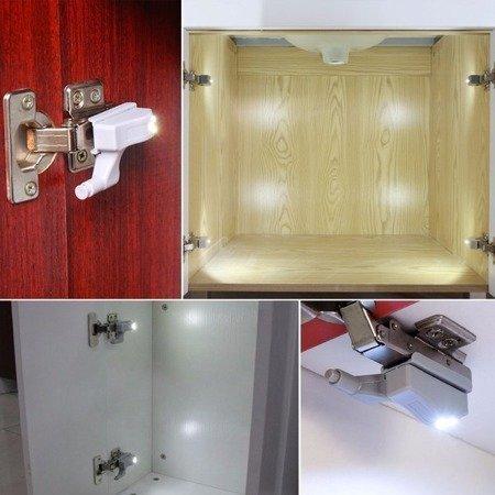 Automatyczna Lampka LED do szafki szafy na zawias drzwiczki - biała zimna