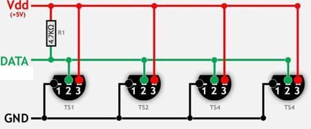 Cyfrowy czujnik temperatury klon DS18B20 wodoodporny przewód 1mb - Arduino