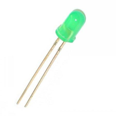 Dioda LED 5mm zielona dyfuzyjna 20mA - 10 szt