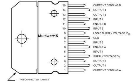 Dwukanałowy sterownik silników - L298N - mostek H - SIP-15