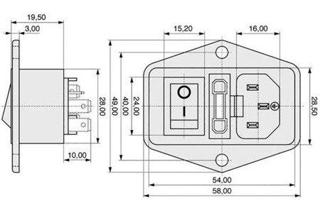 Gniazdo AC IEC - męskie - do obudowy - przykręcane z bezpiecznikiem i wyłącznikiem