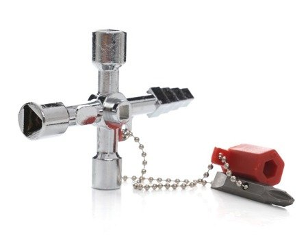 Klucz do szafek technicznych - uniwersalny - końcówki stopniowe 6-9mm, wewnętrzne 5-9mm, adapter na bit