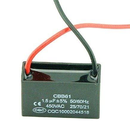Kondensator rozruchowy CBB61 do silników - 1.5uF 450VAC - z przewodami
