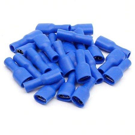 Konektor izolowany płaski żeński - 6.3mm - niebieski - na kabel 1-2.5mm2 - 10szt