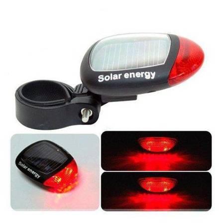 Lampka tylna do roweru Solarna - 2xLED czerwony - Światło rowerowe