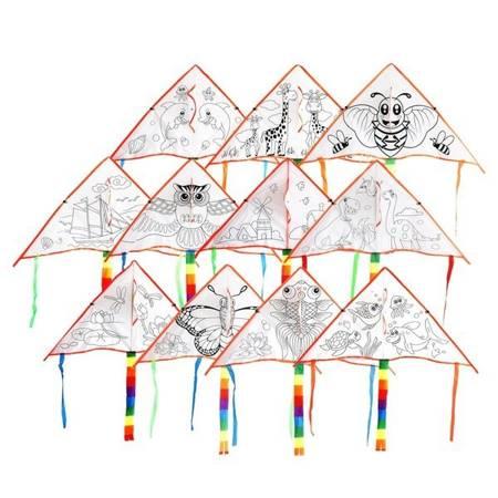 Latawiec do malowania 90x47cm z linką + farby - zabawka dla dzieci