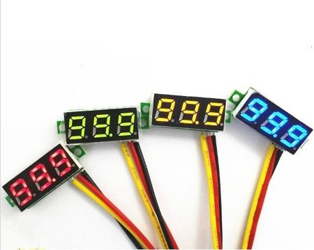 Miernik woltomierz  0-100V - 0,28' z przewodami - LED zielony