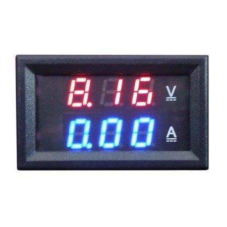 Miernik woltomierz i amperomierz 0-100V 10A ver. V2.0 - 0,56' w obudowie