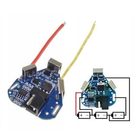 Moduł BMS PCM PCB ładowania i ochrony ogniw 18650, 3S - 12V, 6A, Li-Ion, Li-Pol - gniazdo DC