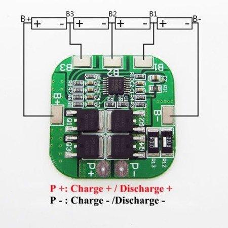 Moduł BMS PCM PCB ładowania i ochrony ogniw Li-Ion - 4S - 16V - 5A - do ogniw 18650
