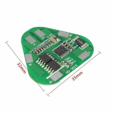 Moduł BMS PCM PCB ładowania ogniw 18650 3S 12V 8A - do ogniw 18650 - w trójkąt