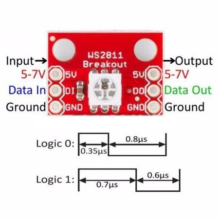 Moduł LED - WS2812 RGB LED - złącze goldpin - Arduino