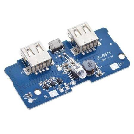 Moduł Power Bank 2 x USB 5V 2A - z układem ładowania akumulatora
