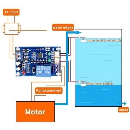 Moduł automatycznego kontrolera poziomu wody - przekaźnik 12V - przełącznik pompy XH-M203