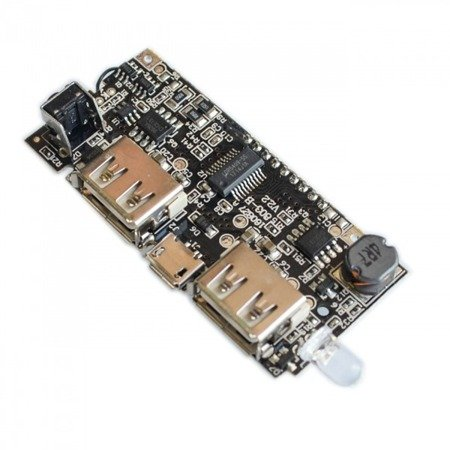 Moduł power bank z LCD - 2X USB (5V 2.1A i 1A) - 1x MicroUSB (5V 1A) - wyświetlacz LCD