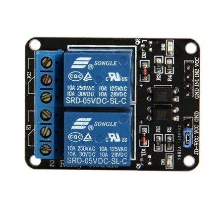 Moduł przekaźnika 2-kanały - 5V - 10A/250V - z optoizolacją - Arduino