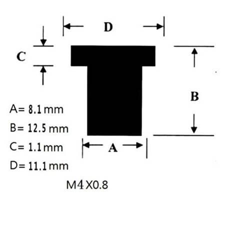 Nakrętka gumowa do szyb i owiewek M4x0,8 - nakrętki tłumiące drgania