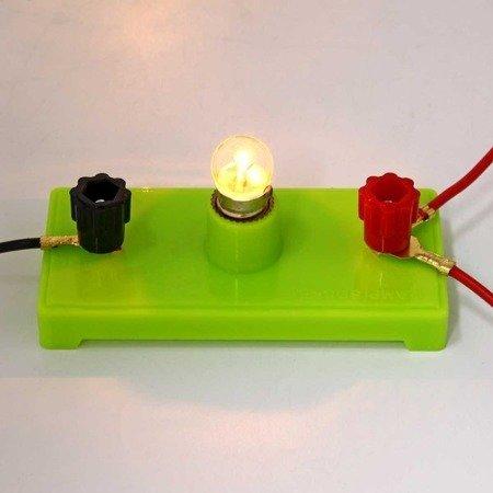 Oprawa żarówki na podstawce  - do doświadczeń i budowy obwodów elektrycznych