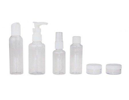 Pojemniki na kosmetyki i środki dezynfekujące - zestaw podróżny 8-elementów