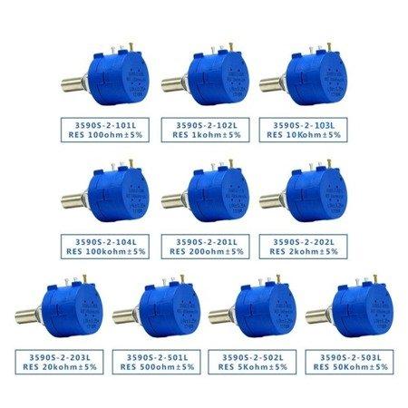 Potencjometr precyzyjny - wieloobrotowy - 5K Ohm - 2W - 3590S-2-502L