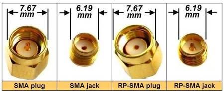 Przejście - RP-SMA jack na MMCX - adapter z przewodem 100mm