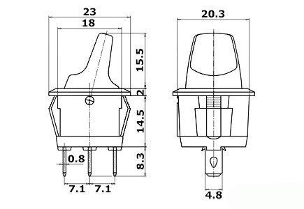 Przełącznik hebelkowy KCD1-101B czerwony - 230V - wyłącznik  3PIN