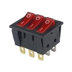 Przełącznik klawiszowy KCD3-303L - 16A/250V - Potrójny - ON/OF - z podświetleniem