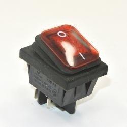 Przełącznik klawiszowy KCD4-R - 16A/250V - Podwójny - ON/OFF - IP65 - czerwony