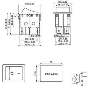 Przełącznik klawiszowy RS203-6C3R - 15A/250V - Podwójny - ON-OFF-ON - 3-pozycyjny - czerwony