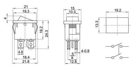 Przełącznik kołyskowy 21x15mm - KCD1-104 - 6A/250V - podwójny - ON/OFF - czarny