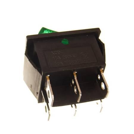 Przełącznik kołyskowy KCD7 - zielony - przełącznik ON/OFF - 230V - 6 PIN