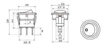 Przełącznik kołyskowy - SMRS101-6LDG - 1A/250V - okrągły - ON-OFF - czarny - jażeniówka zielona