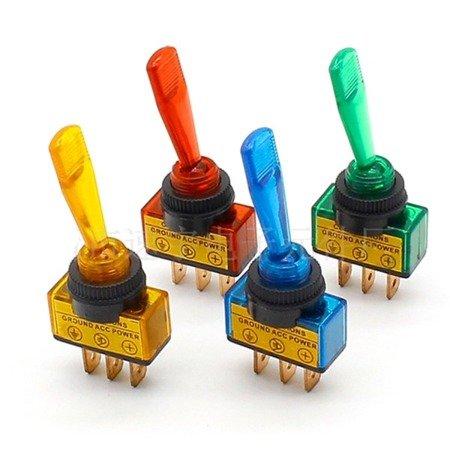 Przełącznik samochodowy - bistabilny - ASW-13D - 20A - 12V - przełącznik dźwigniowy - 3 pin -niebieski