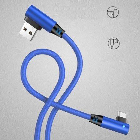 Przewód USB - micro USB - kątowy - z diodą LED - Blue 100cm