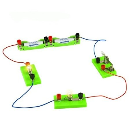 Przewód połączeniowy 40cm - konektor widełkowy-krokodylek - do budowy prostych obwodów elektrycznych