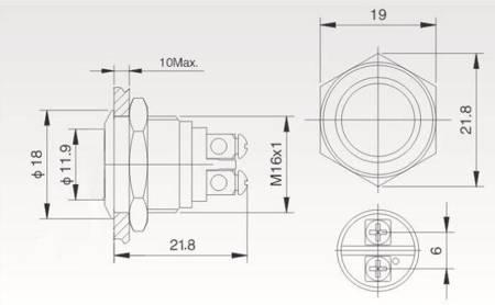 Przycisk wandalo-odporny PBW-16BKS - monostabilny - 2A 250V - klawisz płaski