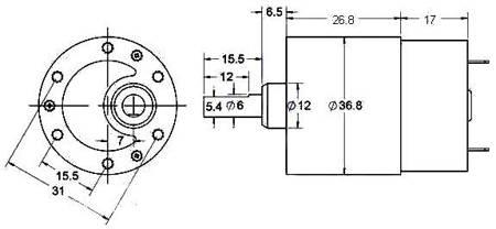 Silnik MT90 z przekładnią - silnik DC 12V 30obr/min