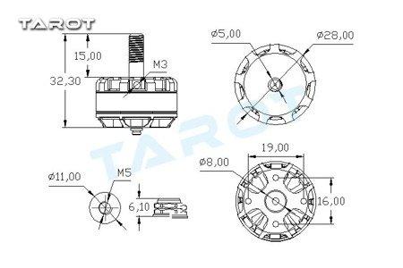 Silnik Tarot MT2205Ⅱ CCW 2300KV - 3-4S - 300W - TAROT TL400H15