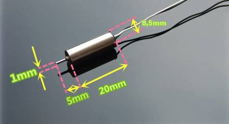 Silnik do mikro drona 8520 - 1S 3,7V - CW - 50.000RPM - Silnik 8,5x20mm