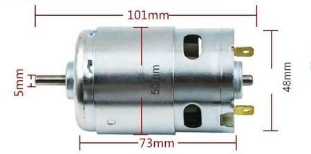 Silnik szczotkowy DC 24V - klasy 895 - oś 5mm - 10000RPM - podwójne łożysko - duży moment obrotowy