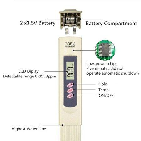 Tester jakości wody - miernik czystości wody PPM - TDS-3 - termometr