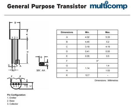 Tranzystor BC557B - 10 szt - bipolarny tranzystor PNP 0,1A 45V - TO-92