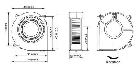 Wentylator turbina 40x40 BLOWFAN 12V - Drukarka RepRap 3D