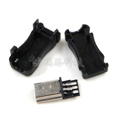 Wtyk mini USB - z osłoną - montowany na kabel - męski