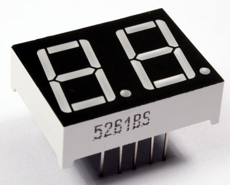 Wyświetlacz LED 7-seg. 2 cyfry - czerwony, wspólna katoda 0.56 cala