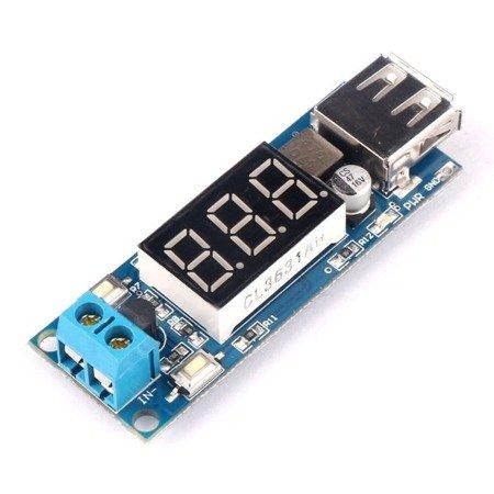 Zasilacz USB 5V 2A - przetwornica 6-35V na 5V z woltomierzem i nastawami prądu