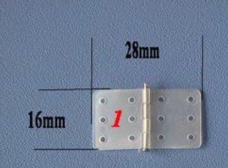 Zawias płytkowy 16mm/28mm - 10 szt - ze sztyftem - 16x28