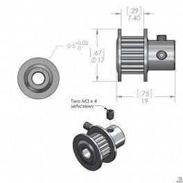 Zębatka GT2 20 zębów 5mm - Drukarka 3D RepRap 3D CNC